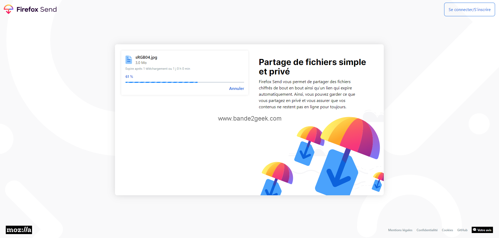 Firefox Send Chargement